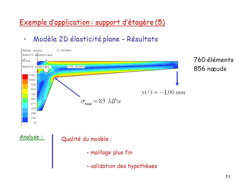 53 760 éléments 856 nœuds Exemple d'application : support d'étagère (5) Modèle 2D élasticité plane - Résultats Qualité du modèle : - maillage plus fin