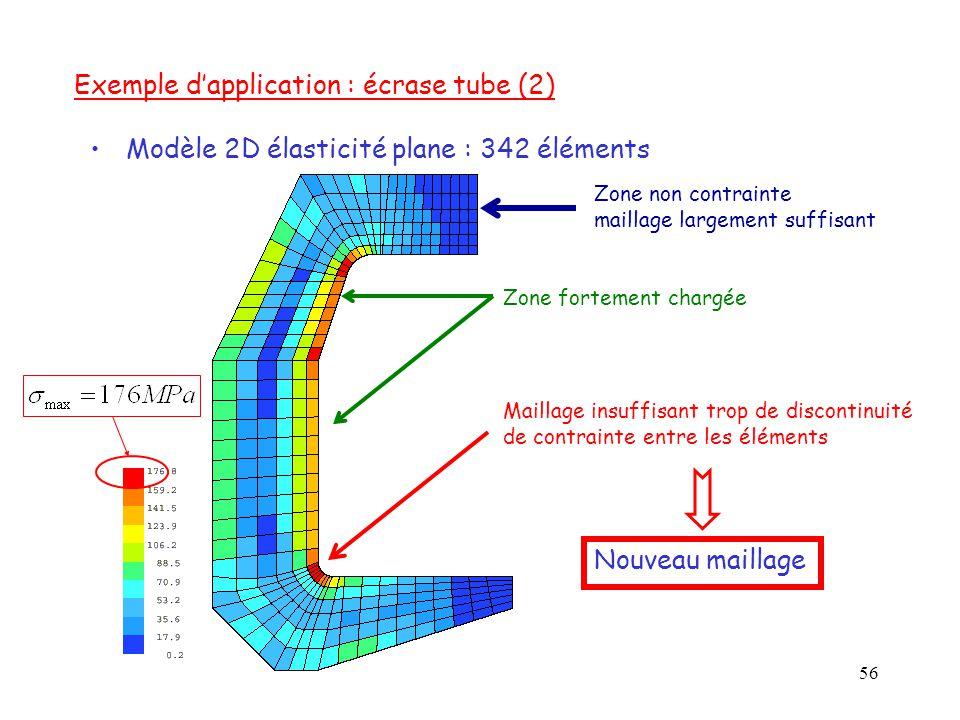 56 Modèle 2D élasticité plane : 342 éléments Maillage insuffisant trop de discontinuité de contrainte entre les éléments Zone non contrainte maillage