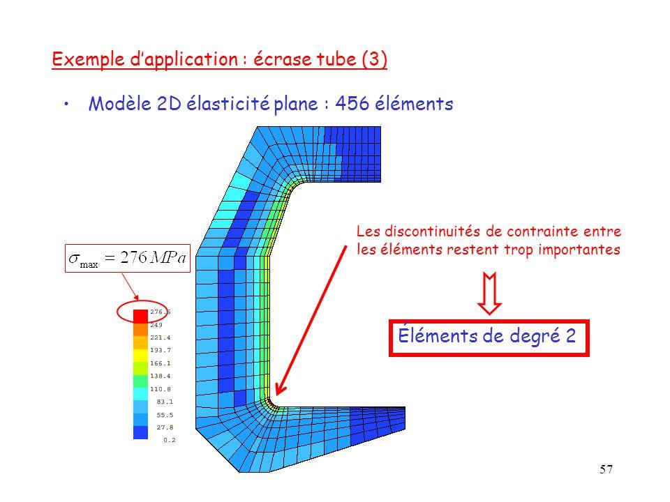 57 Les discontinuités de contrainte entre les éléments restent trop importantes Modèle 2D élasticité plane : 456 éléments Exemple d'application : écra