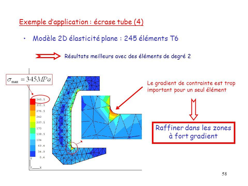 58 Le gradient de contrainte est trop important pour un seul élément Modèle 2D élasticité plane : 245 éléments T6 Exemple d'application : écrase tube