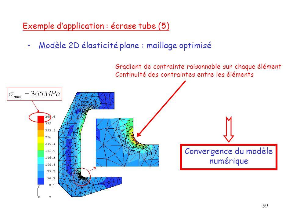 59 Gradient de contrainte raisonnable sur chaque élément Continuité des contraintes entre les éléments Modèle 2D élasticité plane : maillage optimisé