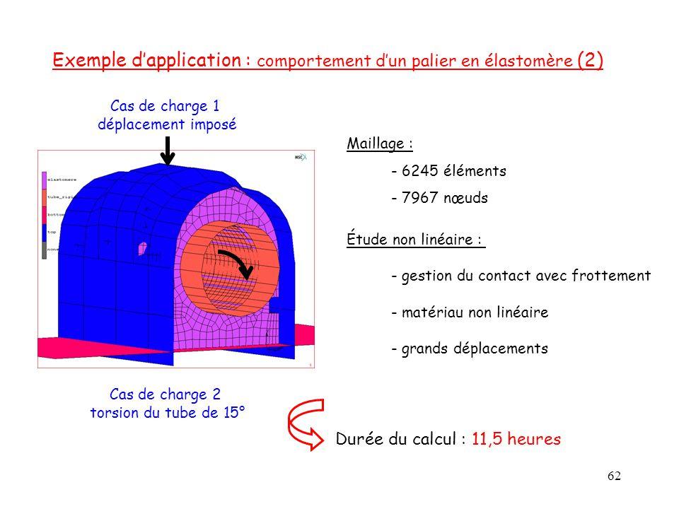 62 Exemple d'application : comportement d'un palier en élastomère (2) Étude non linéaire : - gestion du contact avec frottement - matériau non linéair