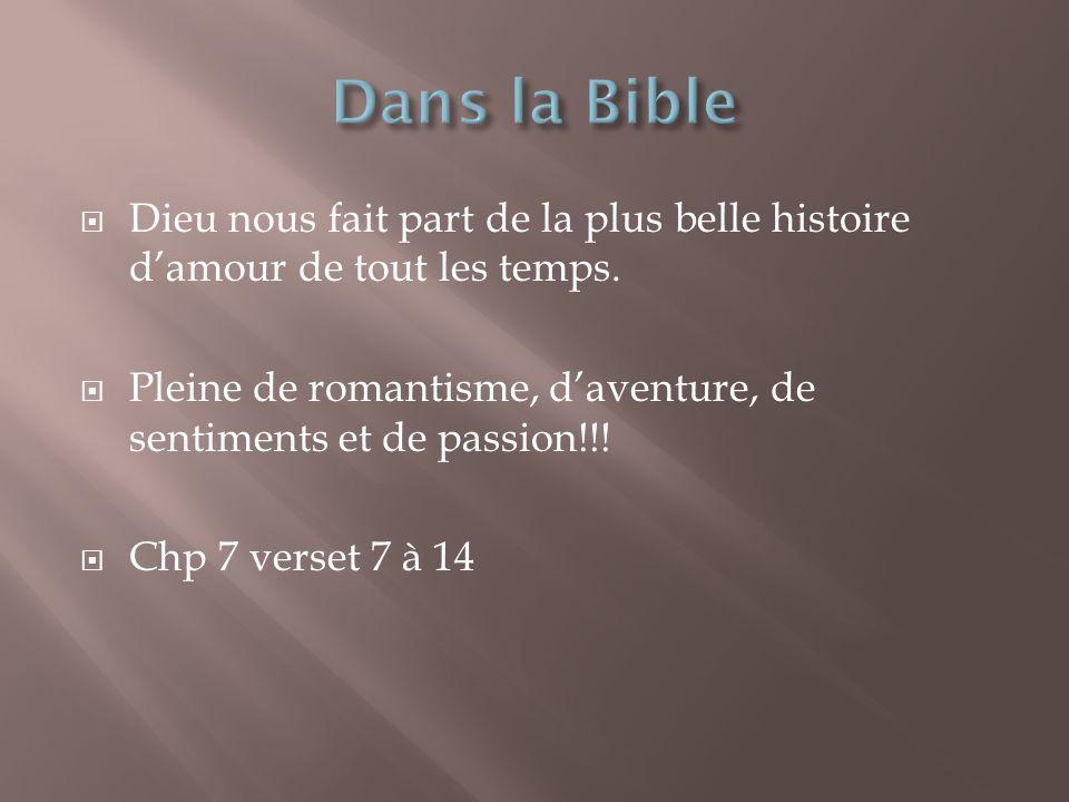  Dieu nous fait part de la plus belle histoire d'amour de tout les temps.  Pleine de romantisme, d'aventure, de sentiments et de passion!!!  Chp 7