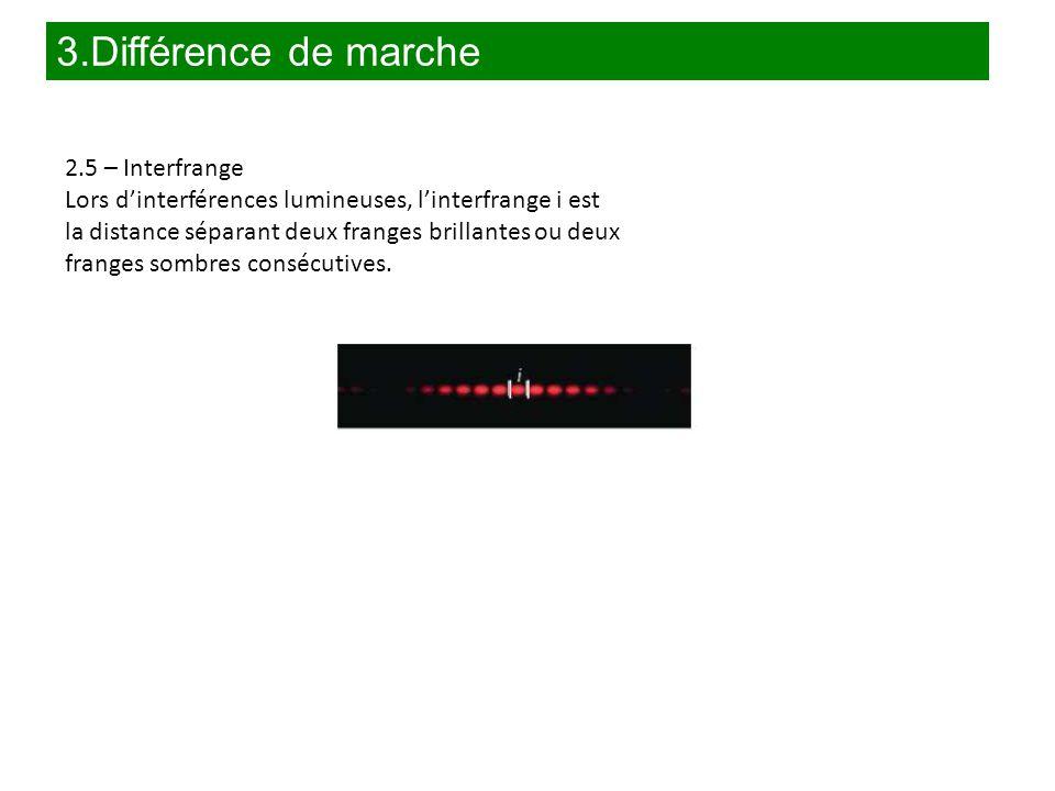3.Différence de marche 2.5 – Interfrange Lors d'interférences lumineuses, l'interfrange i est la distance séparant deux franges brillantes ou deux fra