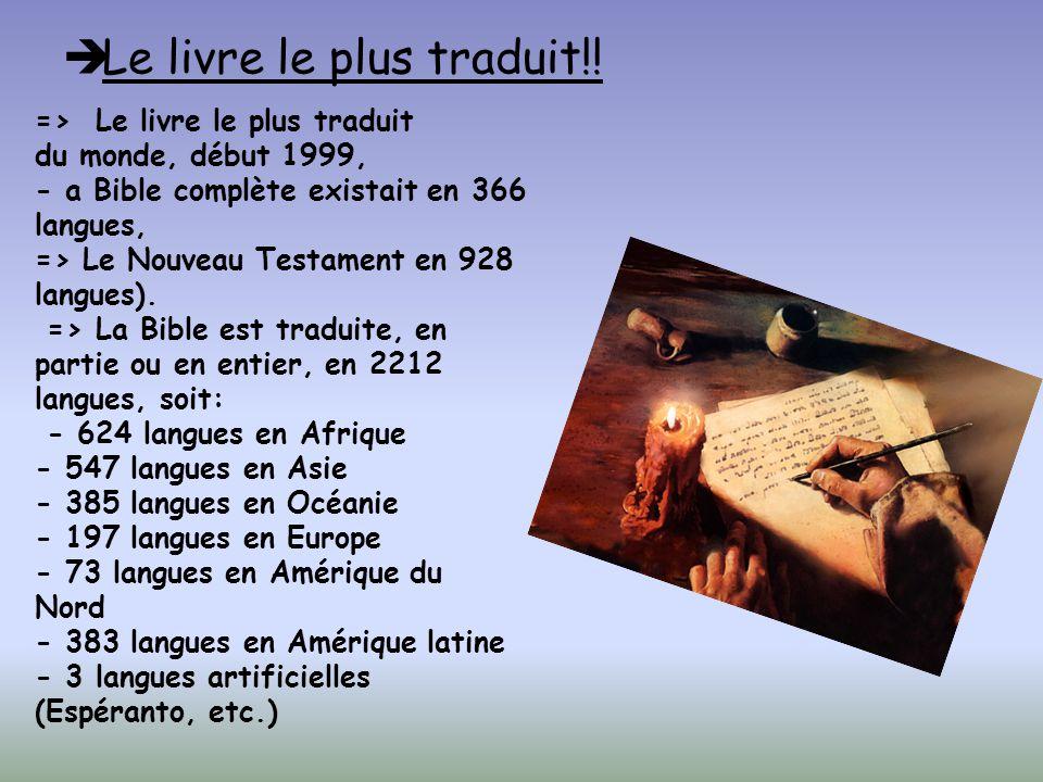 BONUS => 4000 des 6500 langues parlées dans le monde n ont pas encore accès aux textes de la Bible.