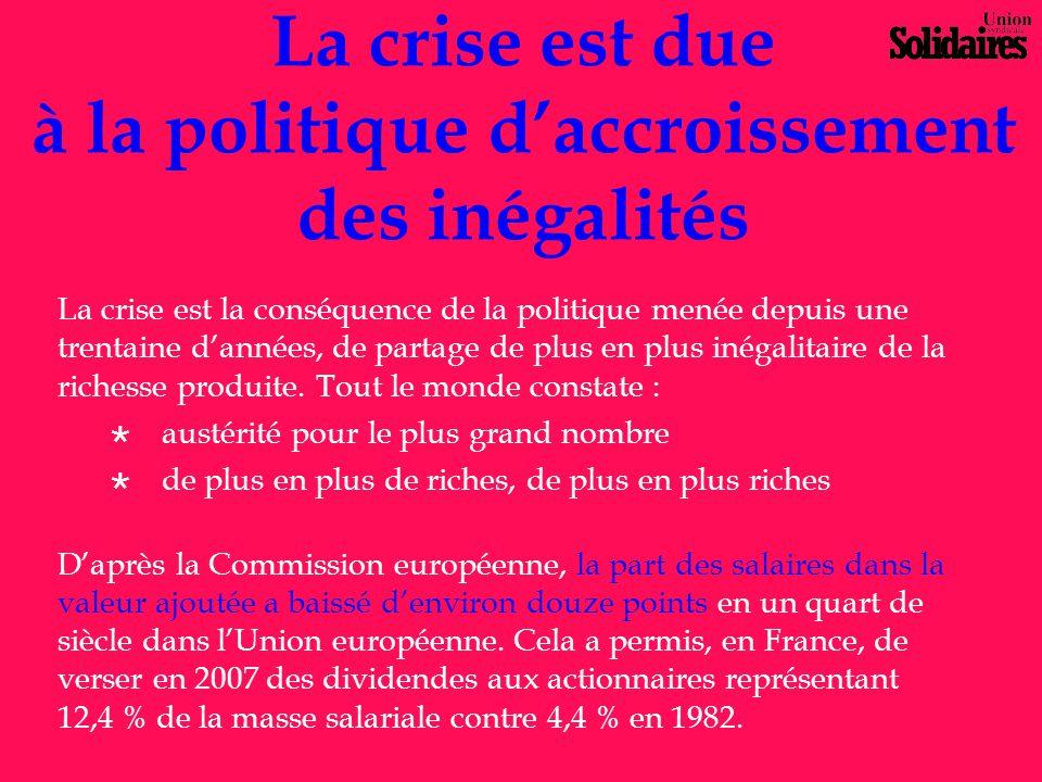 La crise est due à la politique d'accroissement des inégalités La crise est la conséquence de la politique menée depuis une trentaine d'années, de par