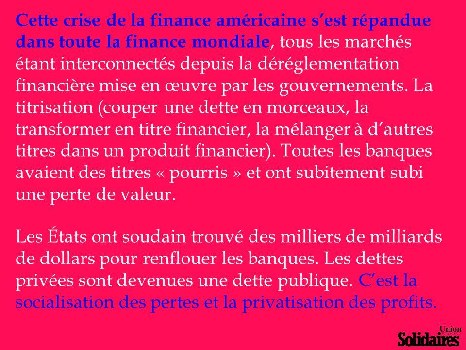Cette crise de la finance américaine s'est répandue dans toute la finance mondiale, tous les marchés étant interconnectés depuis la déréglementation f