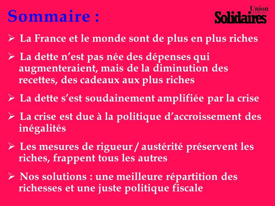 La France et le monde sont de plus en plus riches Les instruments de mesure : Le PIB (Produit Intérieur Brut), la valeur monétaire de la production de biens et de services créée par le travail.