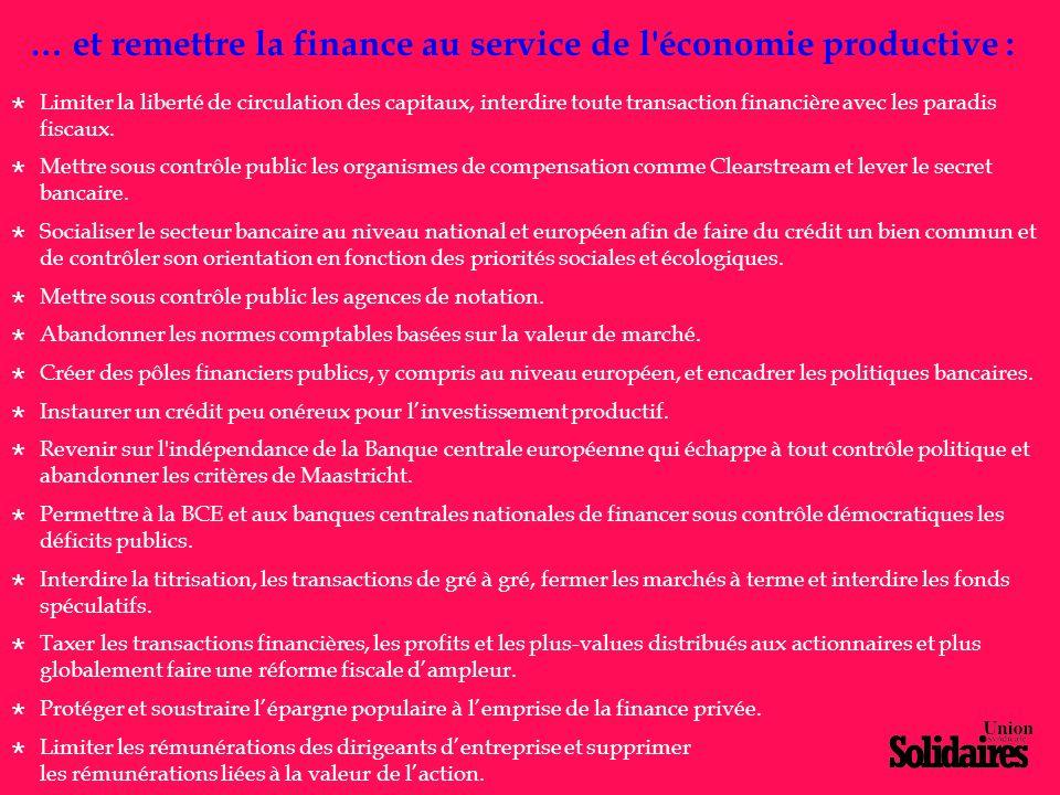 … et remettre la finance au service de l'économie productive :  Limiter la liberté de circulation des capitaux, interdire toute transaction financièr