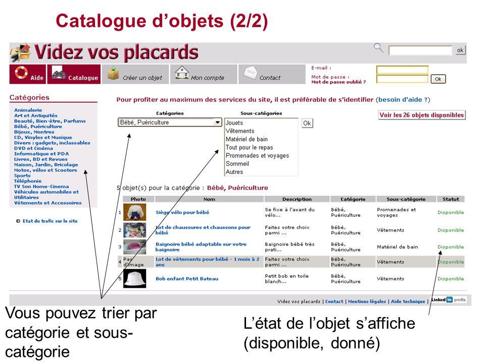 Catalogue d'objets (2/2) L'état de l'objet s'affiche (disponible, donné) Vous pouvez trier par catégorie et sous- catégorie