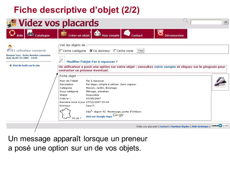 Fiche descriptive d'objet (2/2) Un message apparaît lorsque un preneur a posé une option sur un de vos objets.