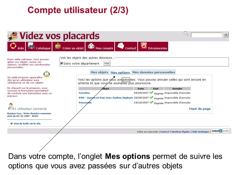 Compte utilisateur (2/3) Dans votre compte, l'onglet Mes options permet de suivre les options que vous avez passées sur d'autres objets