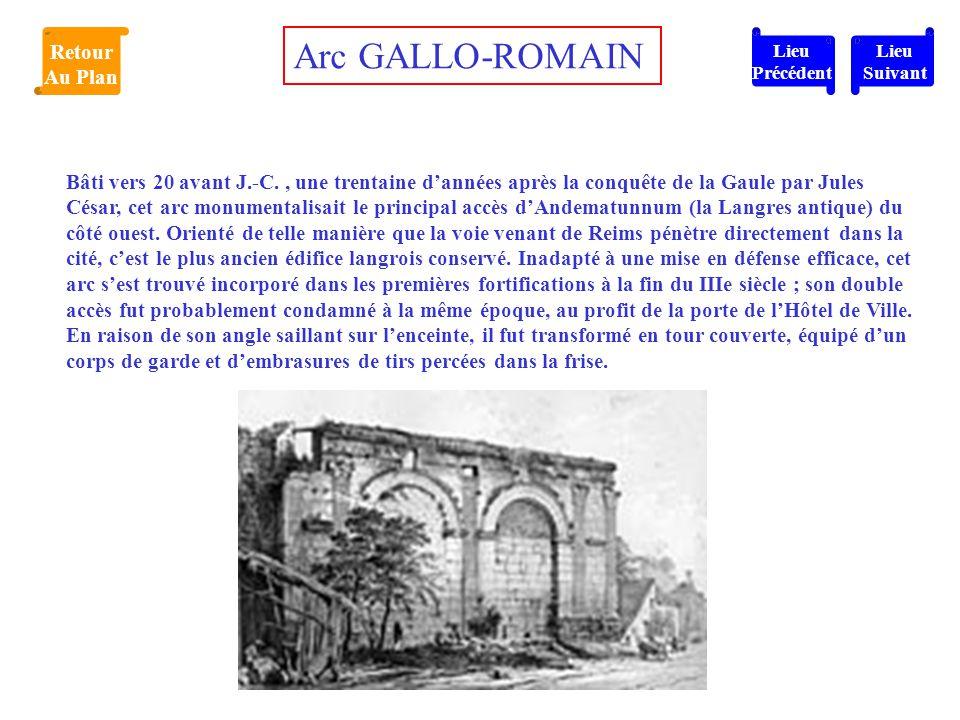 Bâti vers 20 avant J.-C., une trentaine d'années après la conquête de la Gaule par Jules César, cet arc monumentalisait le principal accès d'Andematun