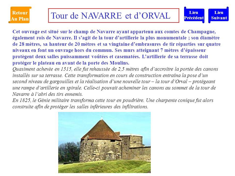 Cet ouvrage est situé sur le champ de Navarre ayant appartenu aux comtes de Champagne, également rois de Navarre. Il s'agit de la tour d'artillerie la