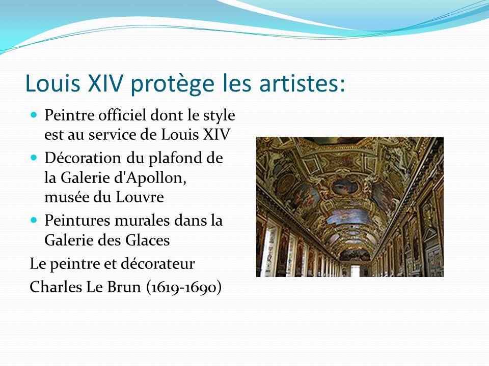Louis XIV protège les artistes: Peintre officiel dont le style est au service de Louis XIV Décoration du plafond de la Galerie d'Apollon, musée du Lou