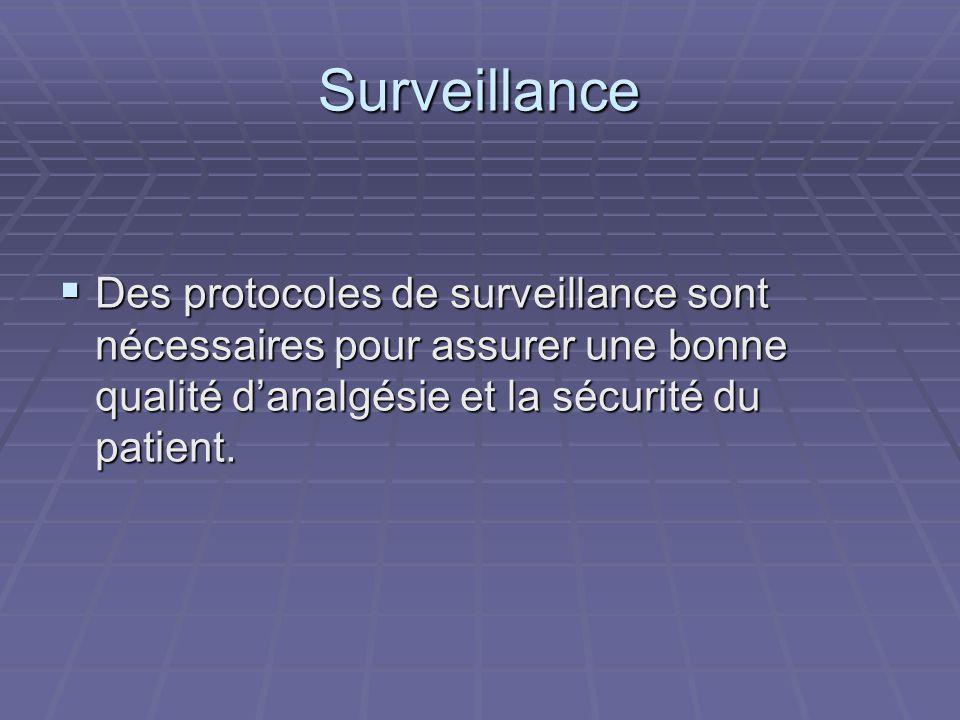 Surveillance  Des protocoles de surveillance sont nécessaires pour assurer une bonne qualité d'analgésie et la sécurité du patient.