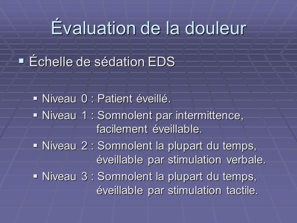 Évaluation de la douleur  Échelle de sédation EDS  Niveau 0 : Patient éveillé.  Niveau 1 : Somnolent par intermittence, facilement éveillable.  Ni