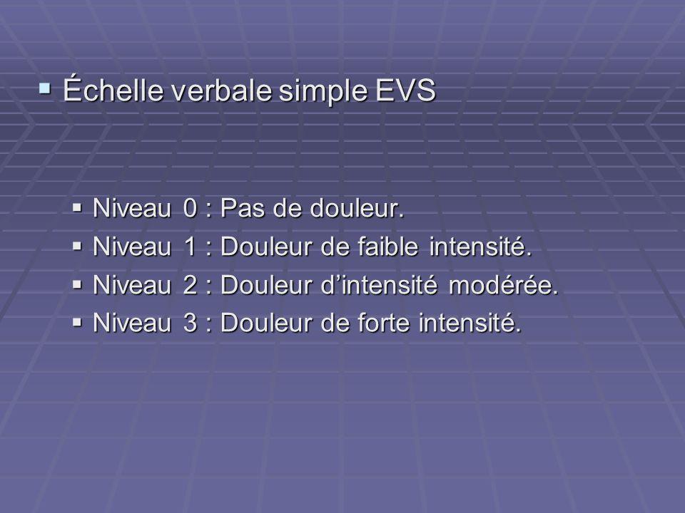  Échelle verbale simple EVS  Niveau 0 : Pas de douleur.  Niveau 1 : Douleur de faible intensité.  Niveau 2 : Douleur d'intensité modérée.  Niveau