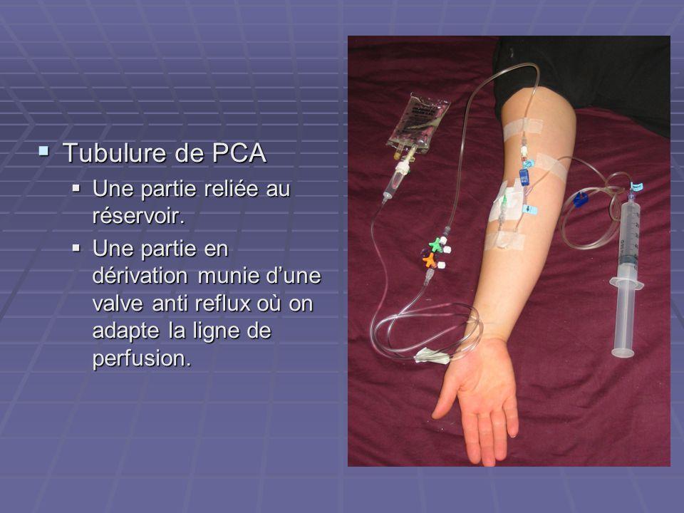  Tubulure de PCA  Une partie reliée au réservoir.  Une partie en dérivation munie d'une valve anti reflux où on adapte la ligne de perfusion.
