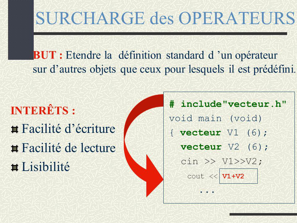 Classe vecteur : implantation vecteur vecteur::add (const vecteur& v){ // IC + v vecteur somme; //appel du constructeur if (this->taille == v.taille){ somme.taille=this->taille; for (int i=0; i taille;i+=1){ somme.t[i]=this->t[i]+v.t[i]; } return (somme);//appel du construct par copie } void vecteur::modifier(int i,int v){ t[i]=v; }