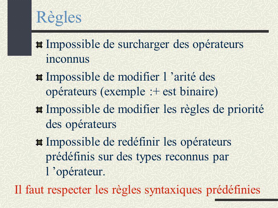 SURCHARGE des OPERATEURS Exemples : Opérations arithmétiques Opérateur << Opérateur >> Opérateurs de comparaison etc...