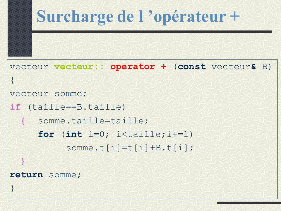 Surcharge de l 'opérateur + # include class vecteur{ public : vecteur operator + (const vecteur& B); // est retourné : IC+B private : int taille; int t[max]; };