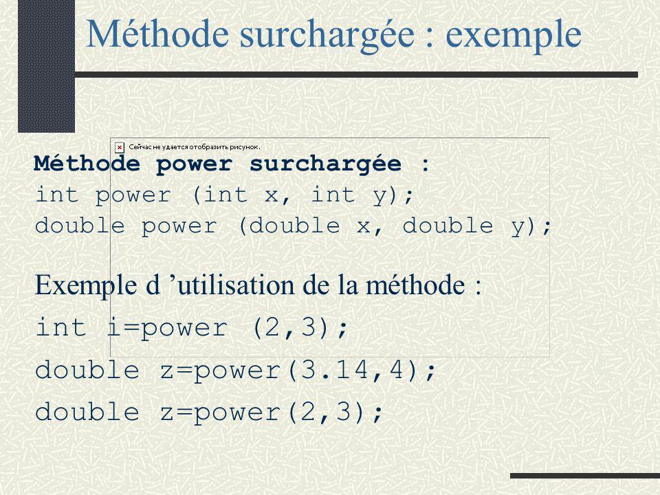 Méthode surchargée Le langage C++ permet la surcharge des méthodes, c'est à dire qu'il offre la possibilité d'implanter des méthodes ayant le même « nom ».