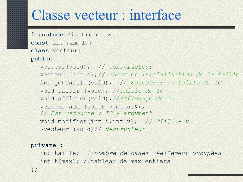 CLASSE VECTEUR On considère l 'objet : vecteur d 'entiers.