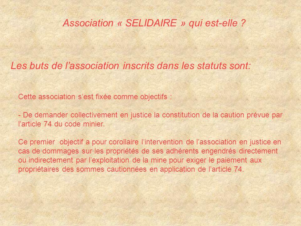 Cette association s'est fixée comme objectifs : - De demander collectivement en justice la constitution de la caution prévue par l'article 74 du code minier.