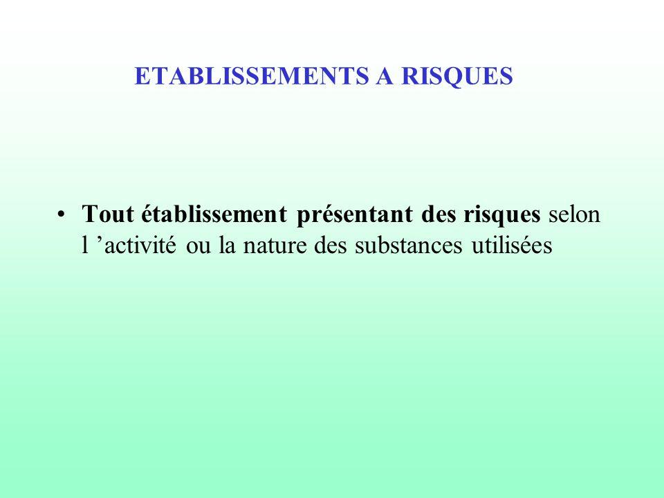 ETABLISSEMENTS A RISQUES Tout établissement présentant des risques selon l 'activité ou la nature des substances utilisées