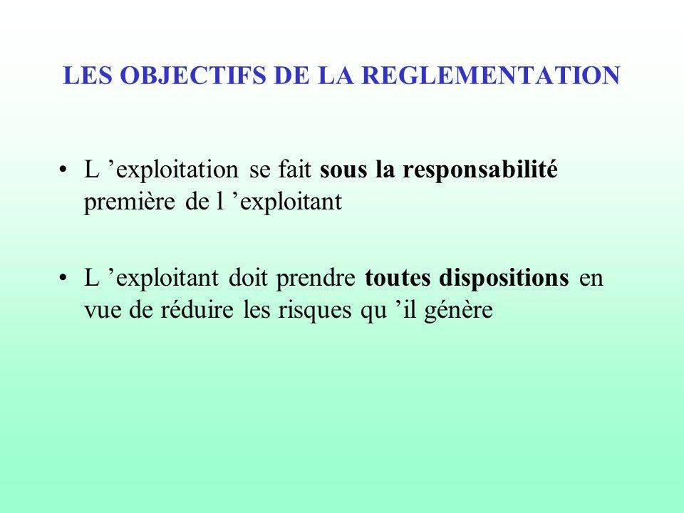 LES OBJECTIFS DE LA REGLEMENTATION L 'exploitation se fait sous la responsabilité première de l 'exploitant L 'exploitant doit prendre toutes disposit