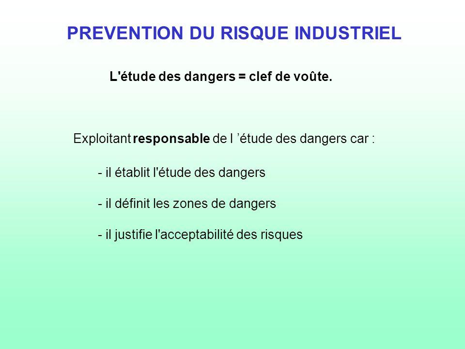PREVENTION DU RISQUE INDUSTRIEL L 'étude des dangers doit permettre à l 'exploitant de : - prévenir et diminuer les risques de son installation - définir les mesures préventives à mettre en œuvre, - définir les besoins en matière de protection, - définir les mesures organisationnelles,