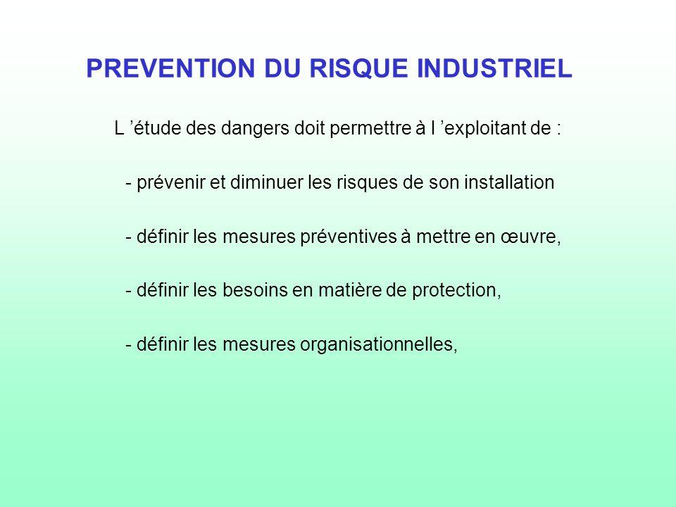 PREVENTION DU RISQUE INDUSTRIEL L 'étude des dangers doit permettre à l 'exploitant de : - prévenir et diminuer les risques de son installation - défi