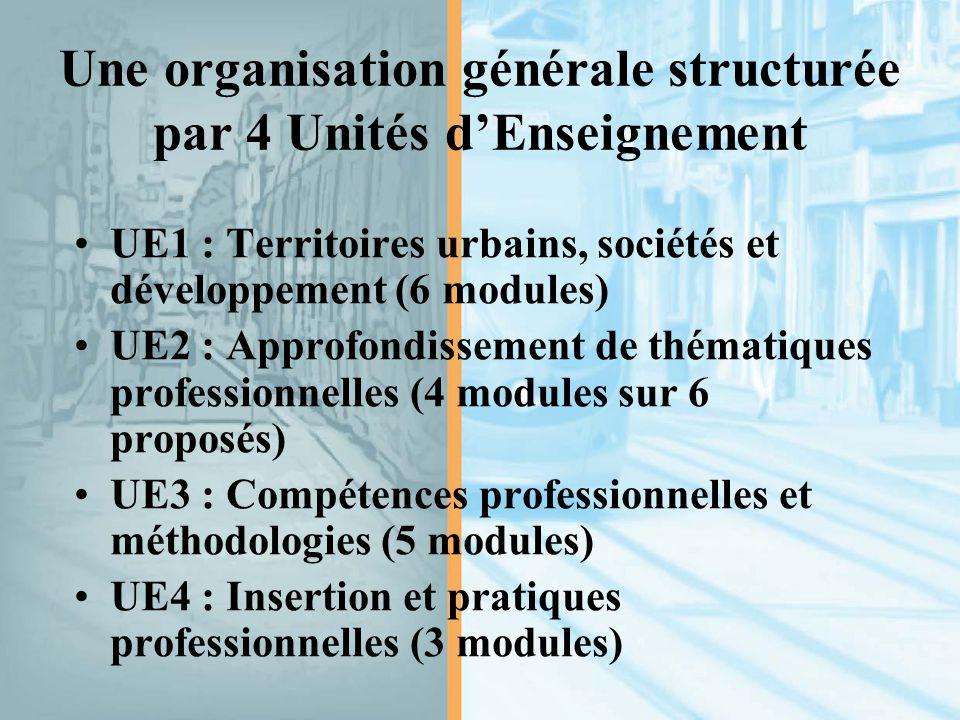 Une organisation générale structurée par 4 Unités d'Enseignement UE1 : Territoires urbains, sociétés et développement (6 modules) UE2 : Approfondissement de thématiques professionnelles (4 modules sur 6 proposés) UE3 : Compétences professionnelles et méthodologies (5 modules) UE4 : Insertion et pratiques professionnelles (3 modules)