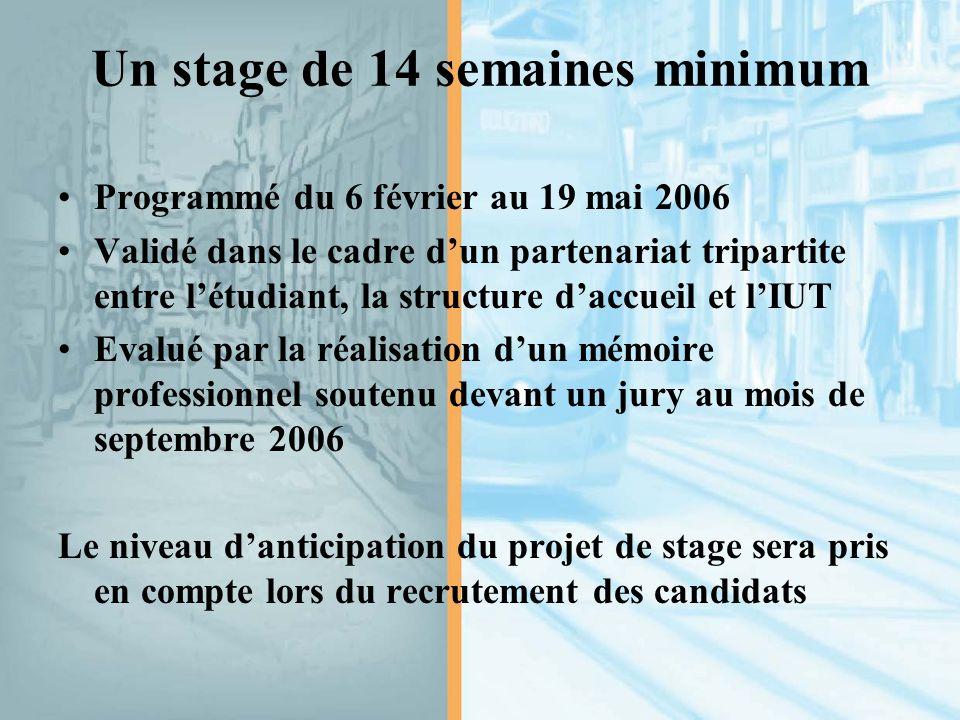 Un stage de 14 semaines minimum Programmé du 6 février au 19 mai 2006 Validé dans le cadre d'un partenariat tripartite entre l'étudiant, la structure d'accueil et l'IUT Evalué par la réalisation d'un mémoire professionnel soutenu devant un jury au mois de septembre 2006 Le niveau d'anticipation du projet de stage sera pris en compte lors du recrutement des candidats