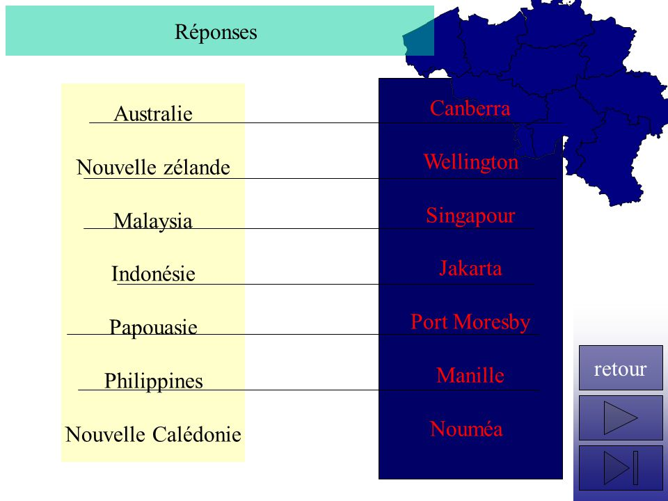 Australie Nouvelle zélande Malaysia Indonésie Papouasie Philippines Nouvelle Calédonie Réponses Canberra Wellington Singapour Jakarta Port Moresby Man