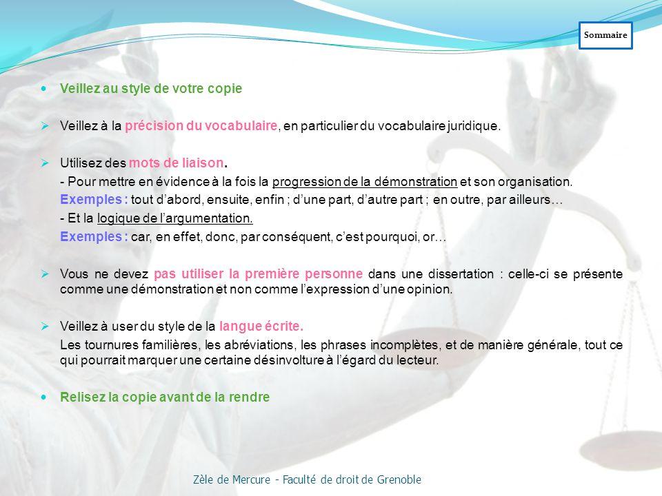 Sommaire Zèle de Mercure - Faculté de droit de Grenoble