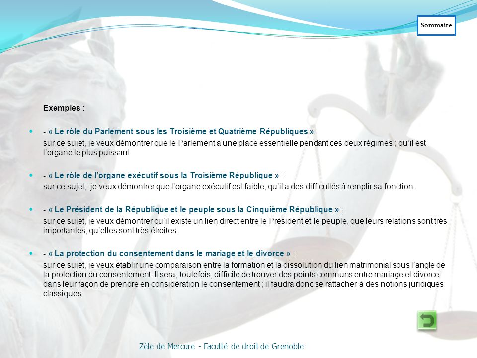 Exemple : « Les pouvoirs du président de la République »  Connaissances nécessaires : Les pouvoirs reconnus par la Constitution au président.
