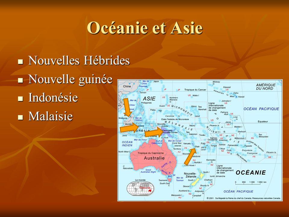 Nouvelles Hébrides Nouvelles Hébrides Nouvelle guinée Nouvelle guinée Indonésie Indonésie Malaisie Malaisie