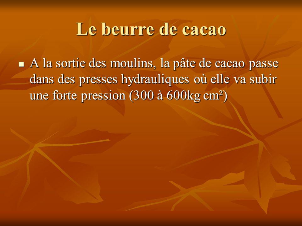 A la sortie des moulins, la pâte de cacao passe dans des presses hydrauliques où elle va subir une forte pression (300 à 600kg cm²) A la sortie des mo