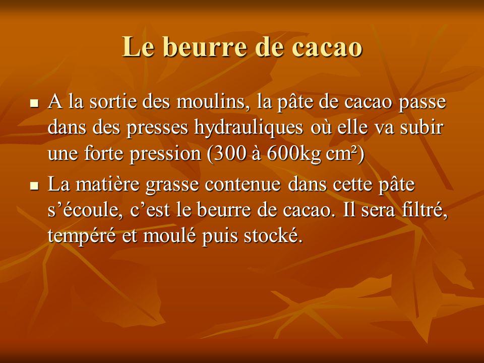 Le beurre de cacao A la sortie des moulins, la pâte de cacao passe dans des presses hydrauliques où elle va subir une forte pression (300 à 600kg cm²)