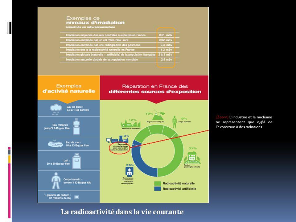 La radioactivité dans la vie courante (Zoom) L'industrie et le nucléaire ne représentent que 0,5% de l'exposition à des radiations