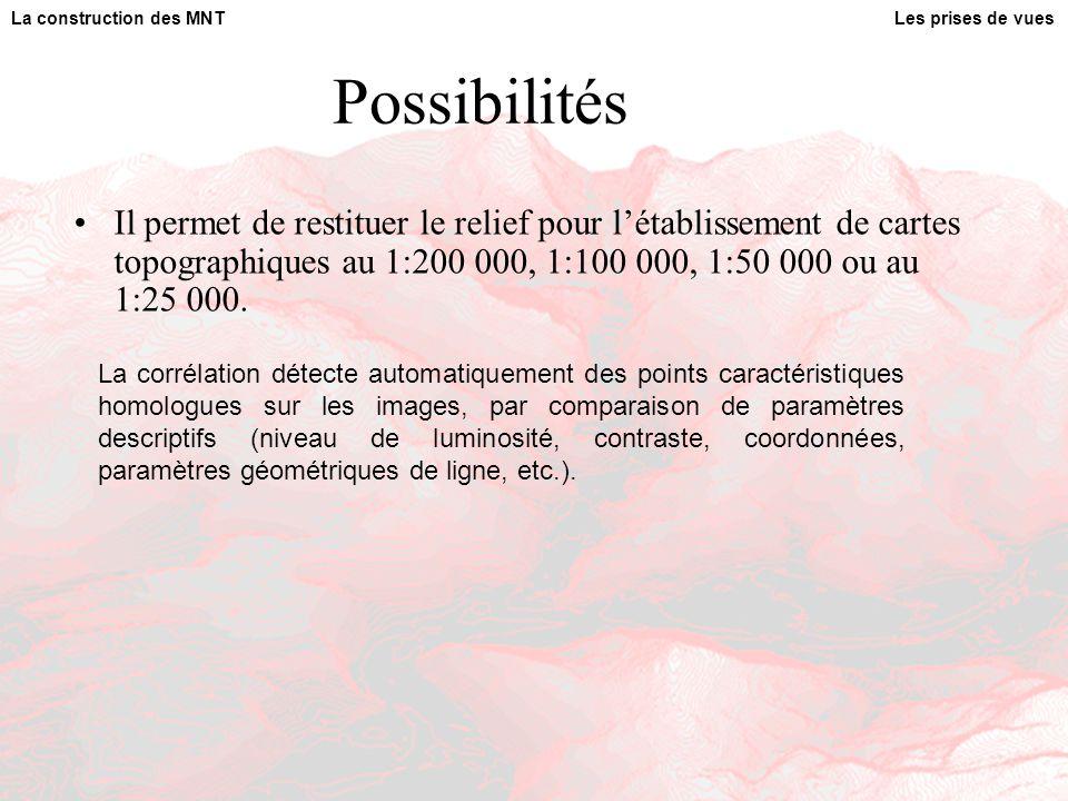 Possibilités Il permet de restituer le relief pour l'établissement de cartes topographiques au 1:200 000, 1:100 000, 1:50 000 ou au 1:25 000.