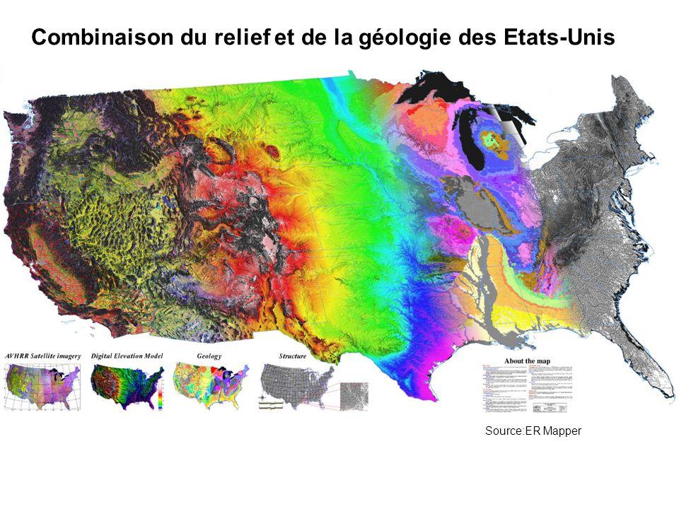 Combinaison du relief et de la géologie des Etats-Unis Source:ER Mapper