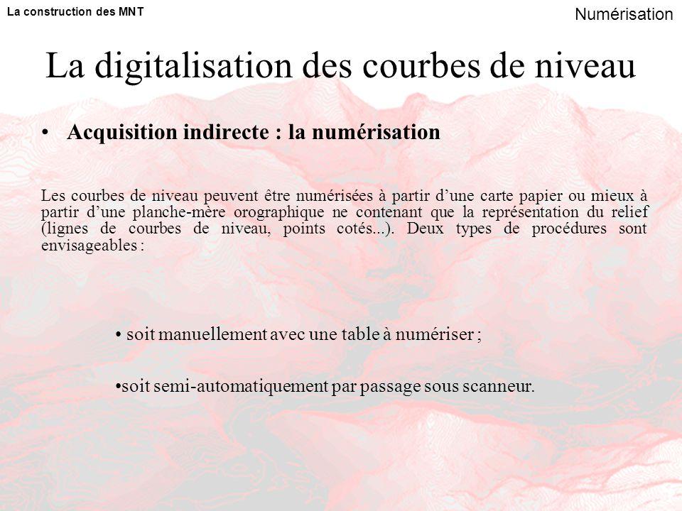 La digitalisation des courbes de niveau Acquisition indirecte : la numérisation La construction des MNT Numérisation soit manuellement avec une table