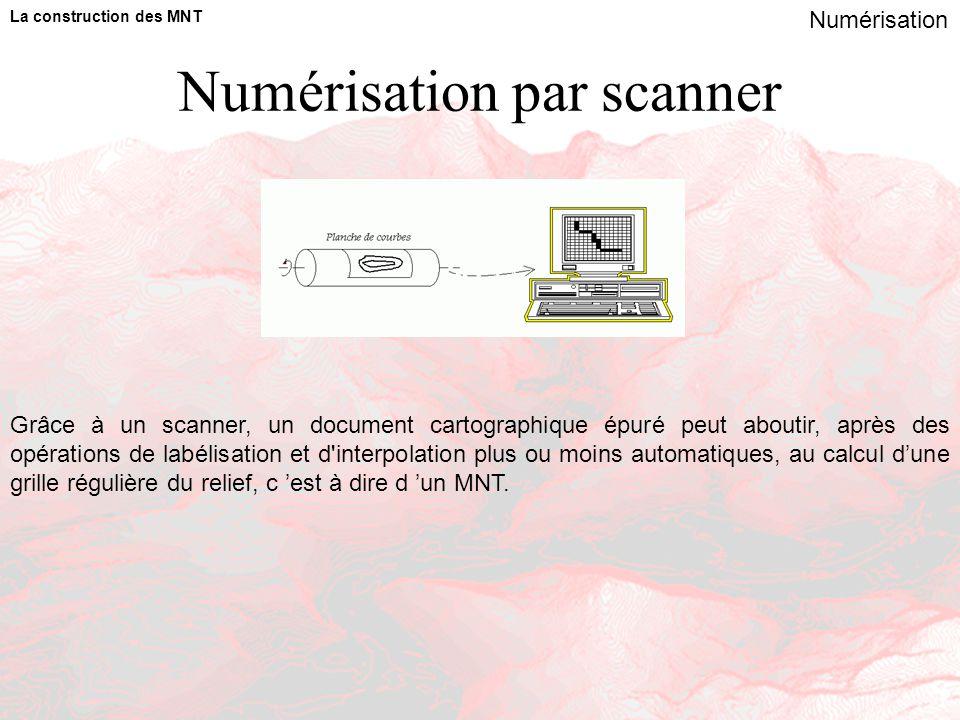 Numérisation par scanner La construction des MNT Numérisation Grâce à un scanner, un document cartographique épuré peut aboutir, après des opérations de labélisation et d interpolation plus ou moins automatiques, au calcul d'une grille régulière du relief, c 'est à dire d 'un MNT.
