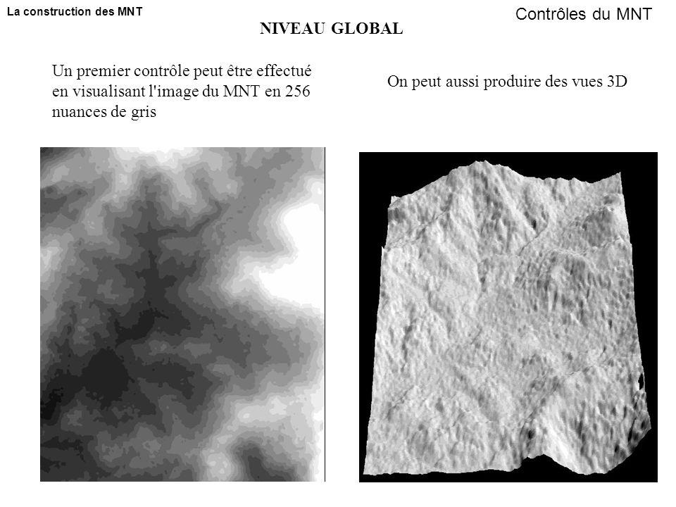 Un premier contrôle peut être effectué en visualisant l image du MNT en 256 nuances de gris On peut aussi produire des vues 3D NIVEAU GLOBAL Contrôles du MNT La construction des MNT