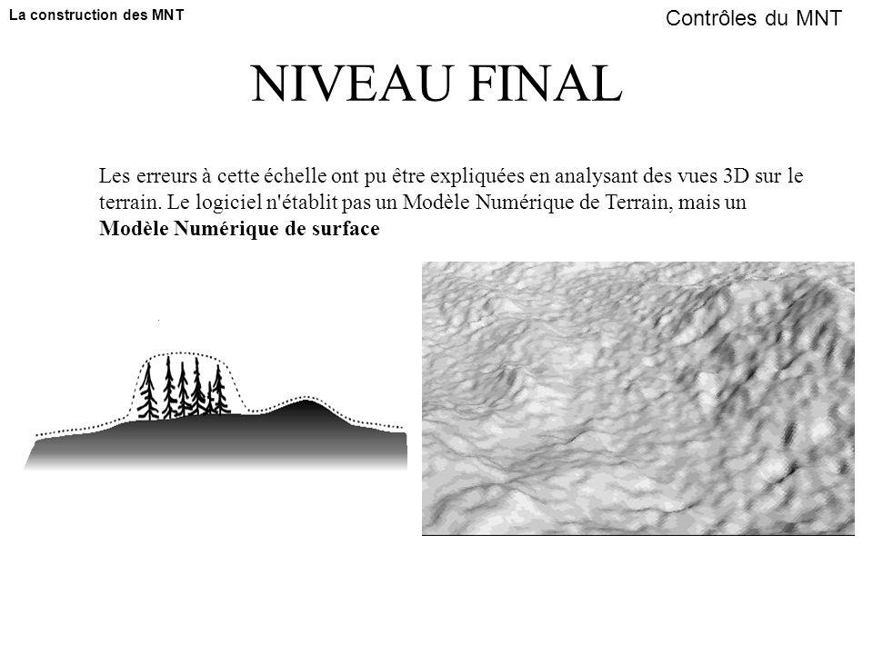 NIVEAU FINAL Les erreurs à cette échelle ont pu être expliquées en analysant des vues 3D sur le terrain. Le logiciel n'établit pas un Modèle Numérique