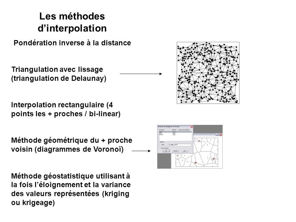 Les méthodes d'interpolation Pondération inverse à la distance Triangulation avec lissage (triangulation de Delaunay) Interpolation rectangulaire (4 points les + proches / bi-linear) Méthode géométrique du + proche voisin (diagrammes de Voronoï) Méthode géostatistique utilisant à la fois l'éloignement et la variance des valeurs représentées (kriging ou krigeage)
