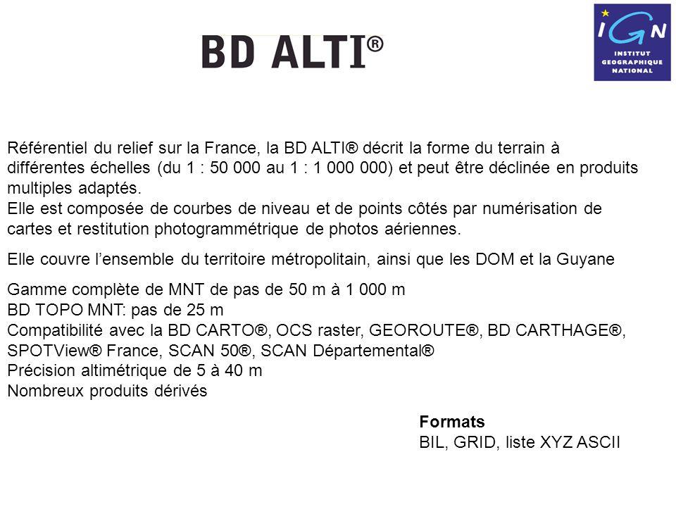 Référentiel du relief sur la France, la BD ALTI® décrit la forme du terrain à différentes échelles (du 1 : 50 000 au 1 : 1 000 000) et peut être déclinée en produits multiples adaptés.